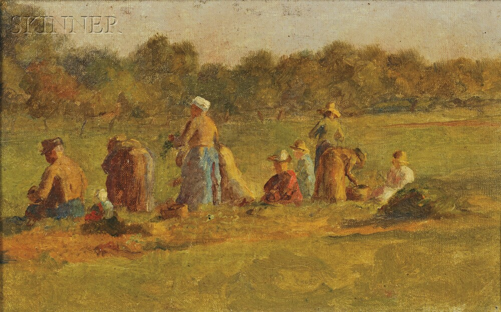 Attributed to Eastman Johnson (American, 1824-1906)      Study for The Cranberry Harvest