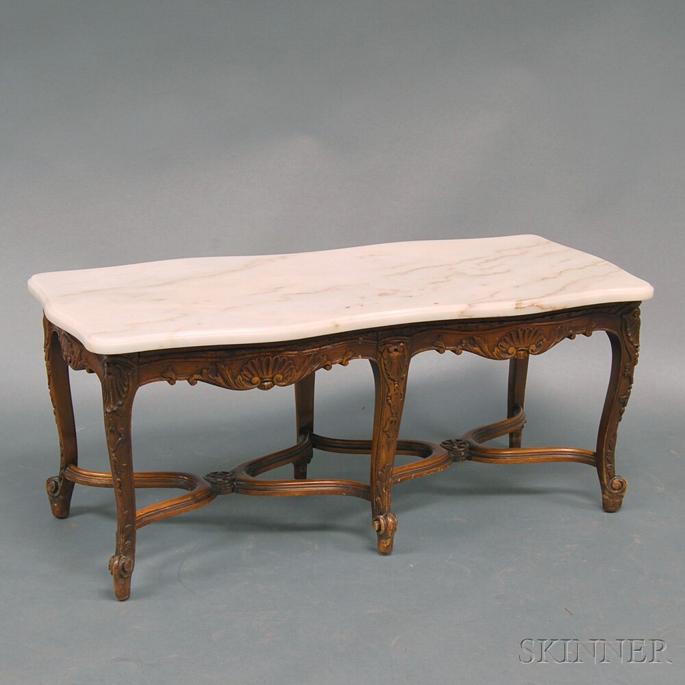 Louis XV-style Six-legged Marble-top Table