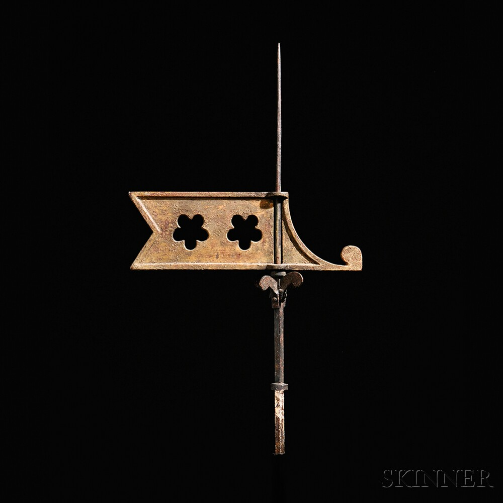 Small Cast Iron Bannerette Weathervane on Stand