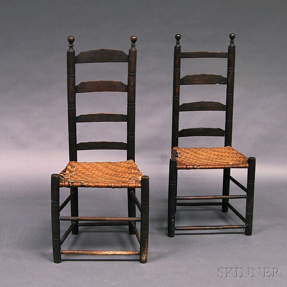 Pair of Black-painted Ladder-back Side Chairs
