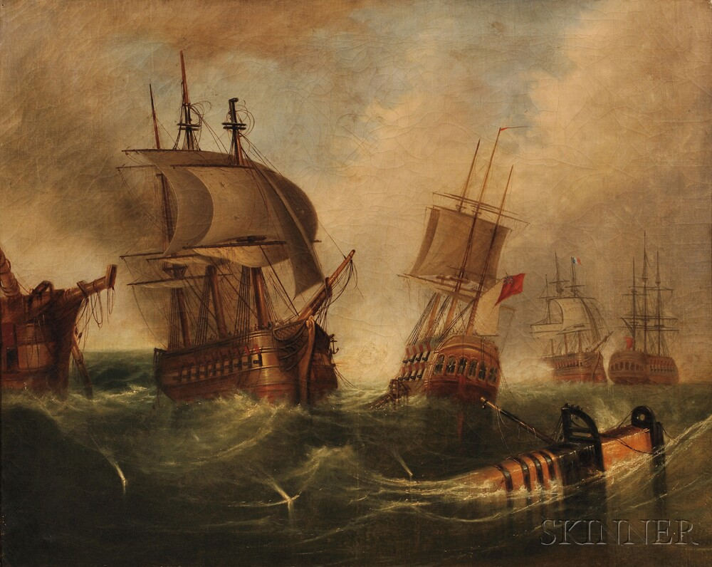 British School, 18th Century      An English Ship Engaged with the French