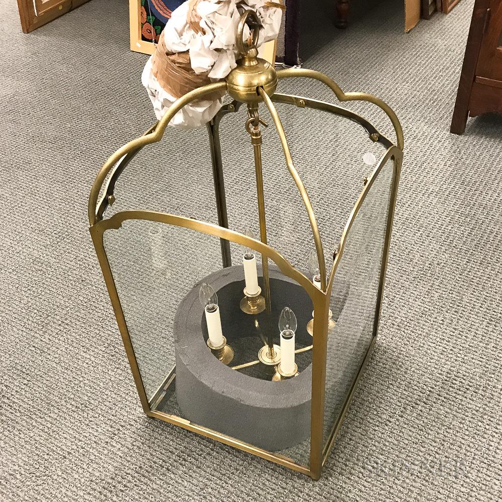 Brass and Glass Four-light Hanging Lantern