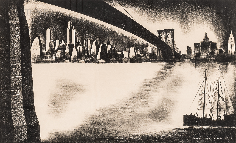 Louis Lozowick (Russian/American, 1892-1973)      Distant Manhattan from Brooklyn