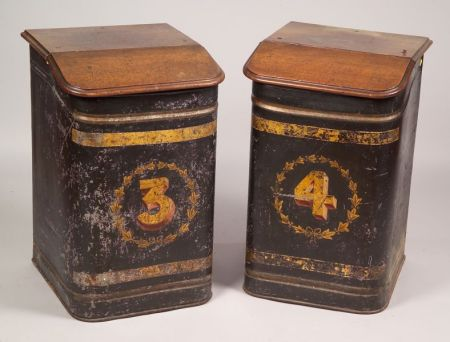 Pair of 19th Century Painted Tin Retail Floor Tea Bins with Wooden Lids