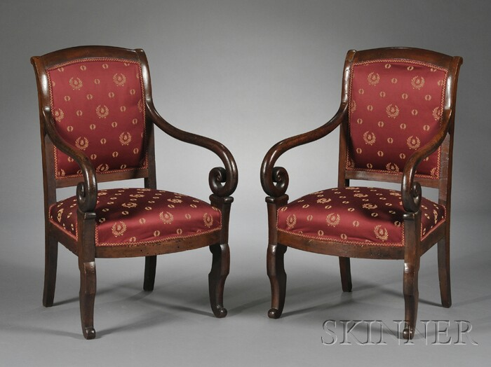 Pair of French Empire Walnut Fauteuil en Cabriolet
