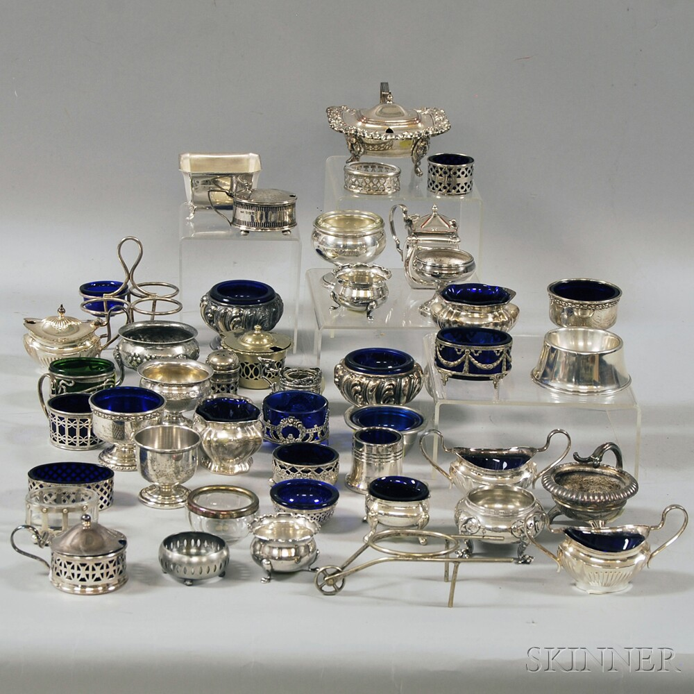 Approximately Forty-four Silver and Plate Salts