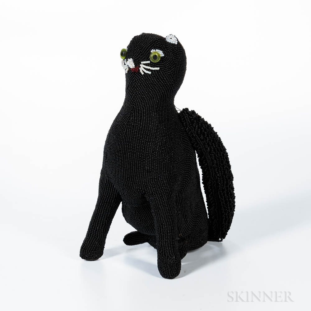 Walborg Black Beaded Cat Handbag