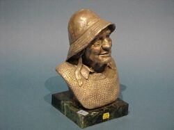 Joe A. Avarista Sterling Silver Fisherman Bust