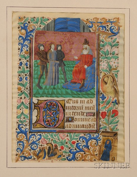 (Illuminated Manuscripts), Pair of Mediaeval Illuminated Manuscript Leaves