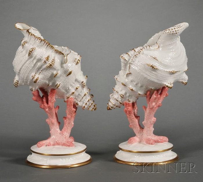 Pair of Wedgwood Bone China Shell Ornaments