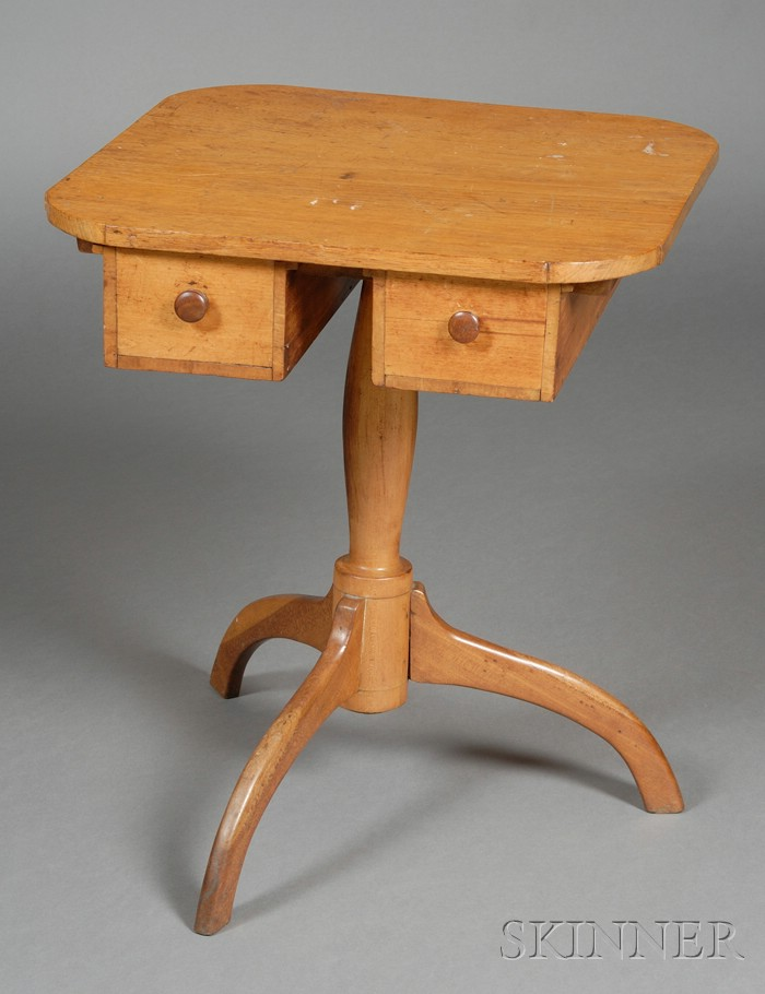 Shaker Butternut, Cherry, and Maple Two-drawer Light Stand