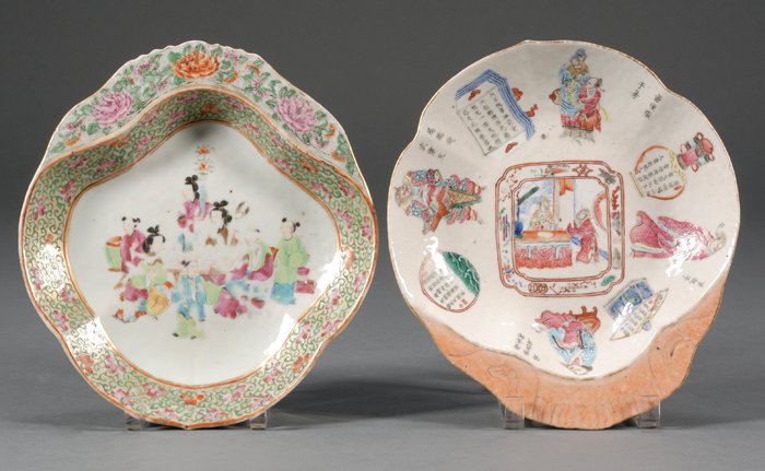 Two Chinese Export Porcelain Shrimp Dishes