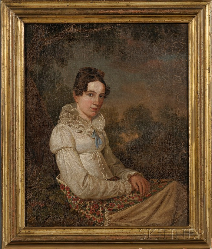 American School, 19th Century      Portrait of a Young Woman in a Landscape, Wearing a White Gown.