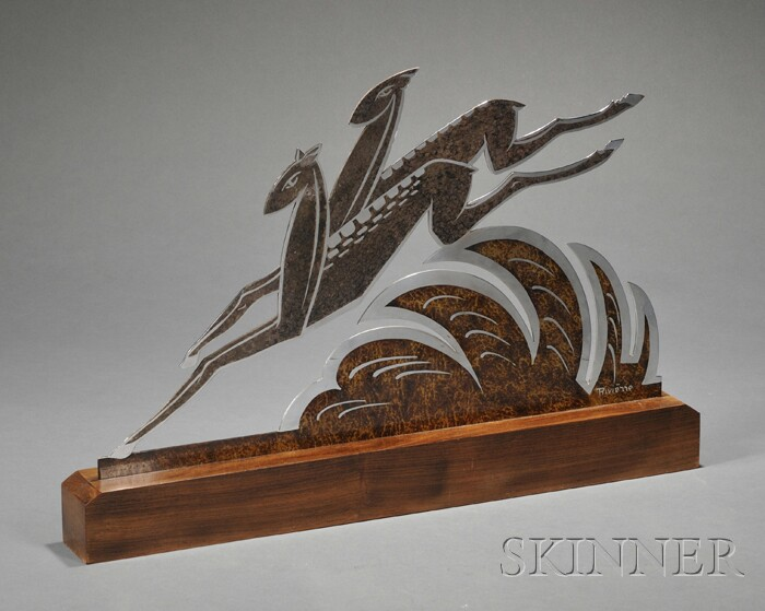 Art Deco Patinated and Chromium-plated Gazelle Figural Group