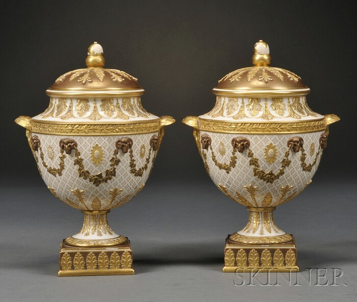 Pair of Wedgwood Gilded and Bronzed Queen's Ware Vases and Covers
