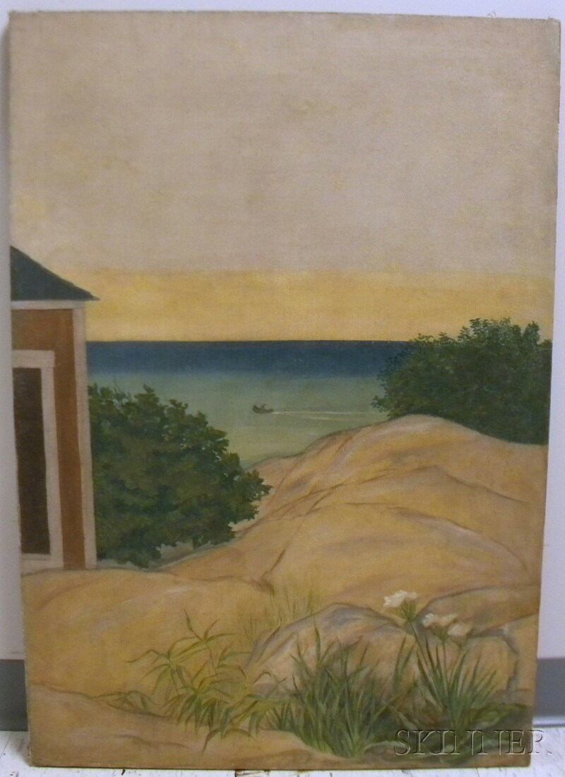 20th Century American School Oil on Canvas View from a House in the Dunes