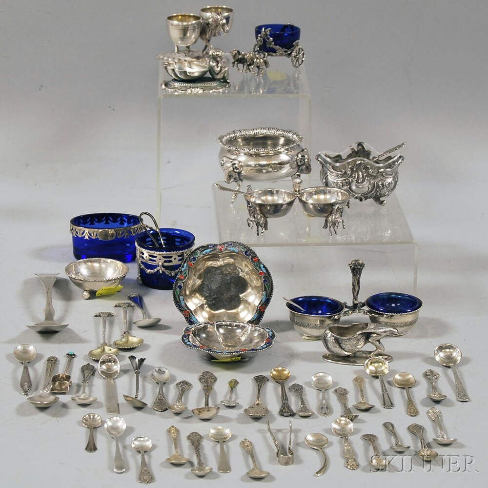 Bag of Silver Salt Spoons and Thirteen Silver and Plate Salts