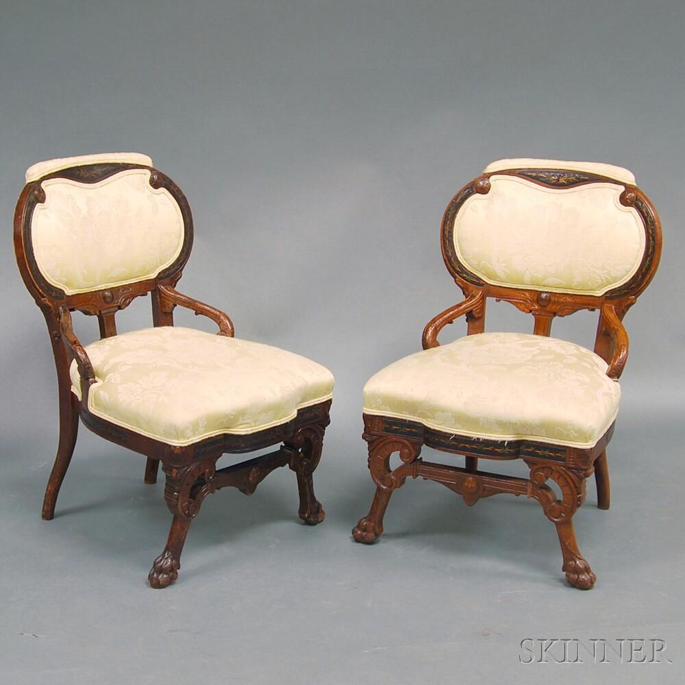 Pair of Renaissance Revival Walnut Upholstered Slipper Chairs