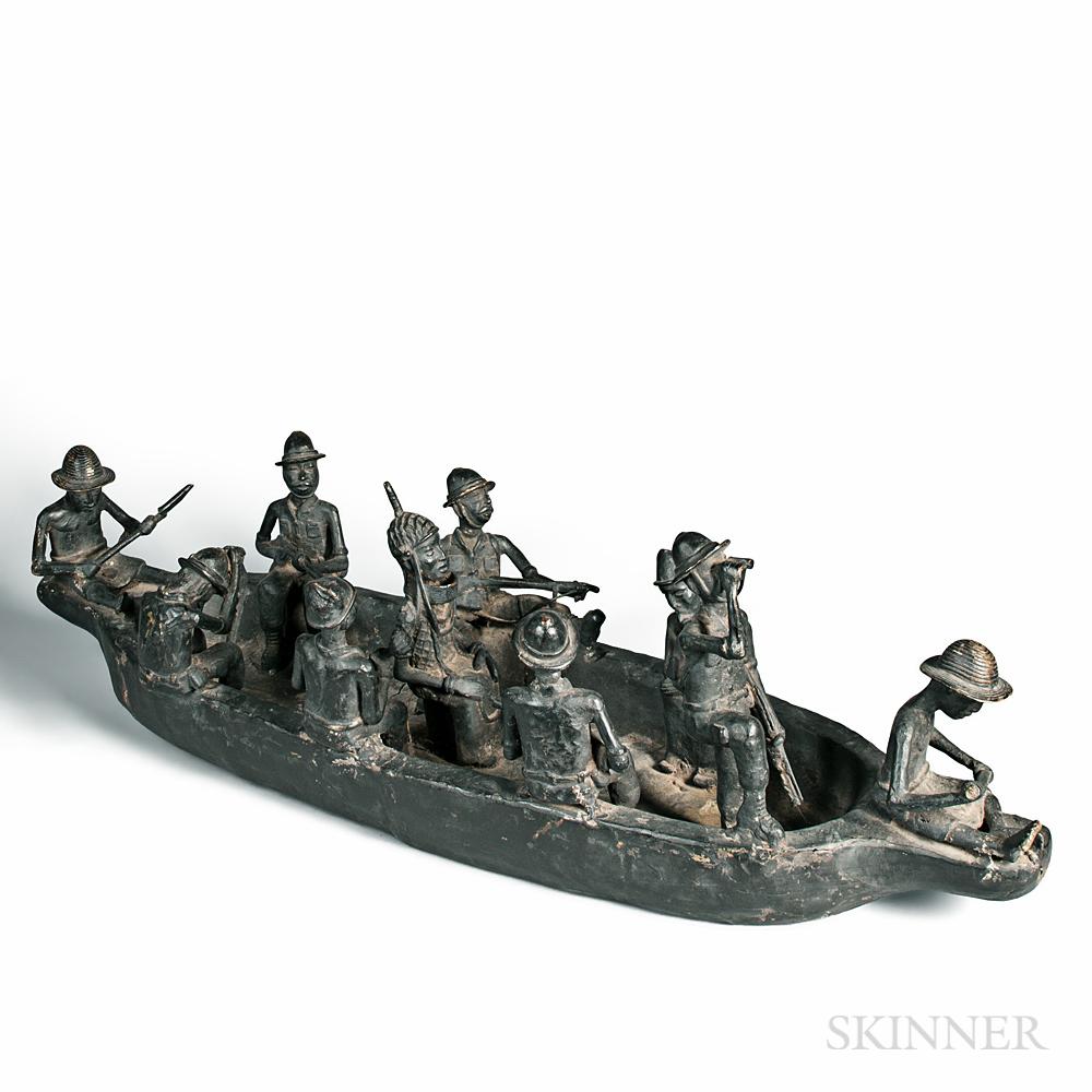Benin-style Bronze Boat Scene with Ten Figures
