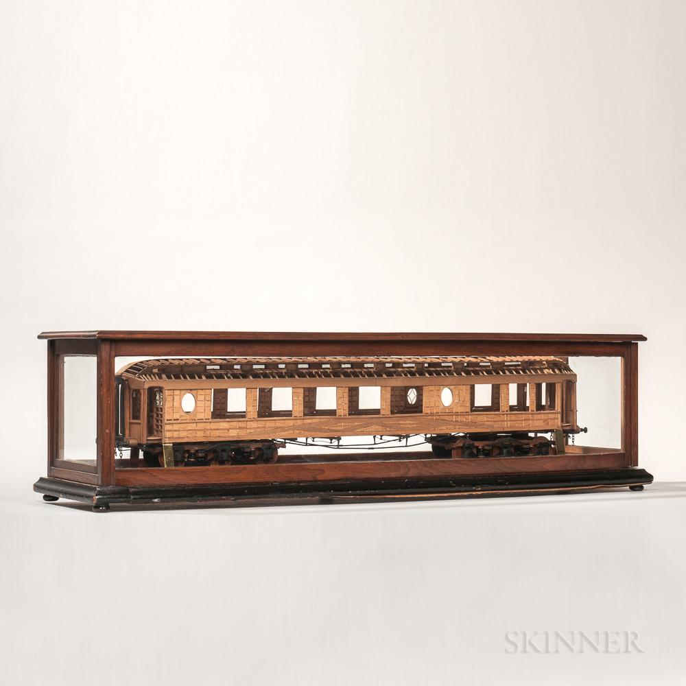Scratch-built Wooden Patent Model of a Railcar