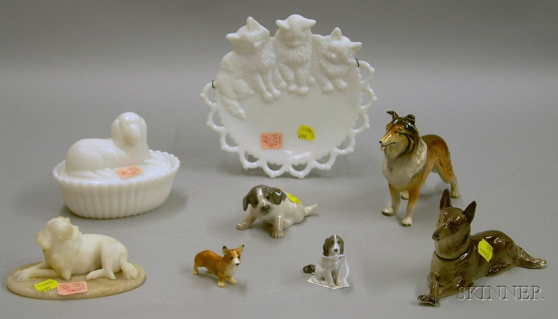 Seven Dog Figural Items and a Milk Glass Cat Plate