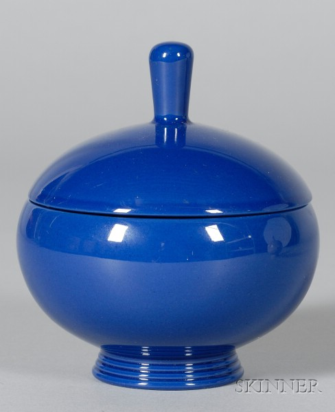 Wedgwood Norman Wilson Design Dark Blue Glazed Bowl and Cover