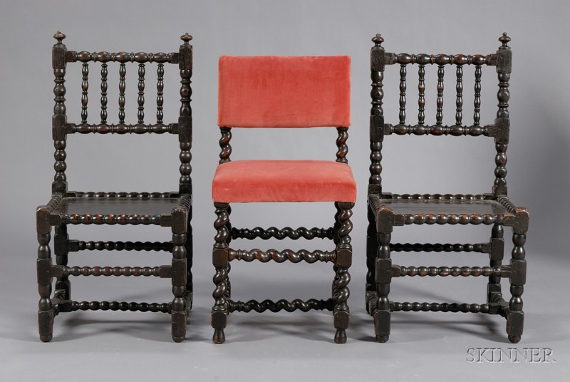 Pair of Continental Baroque Bobbin-turned Oak Side Chairs and Another