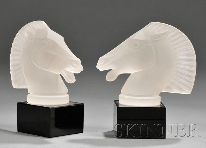 Pair of Etched Glass Horse Head Bookends