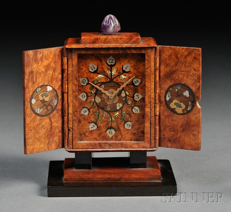 Black, Starr & Frost Art Deco Inlaid Burlwood Boudoir Timepiece
