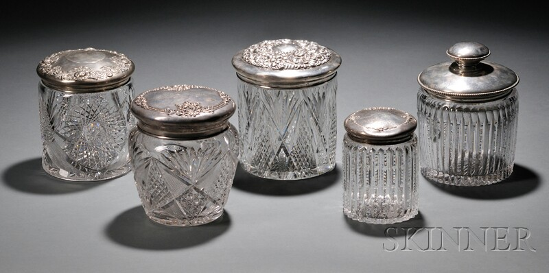 Five Cut Glass Biscuit Jars with Sterling Silver Lids