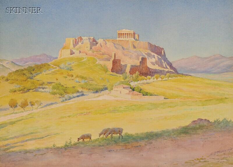 Harold Broadfield Warren (American, 1859-1934)      View of the Acropolis