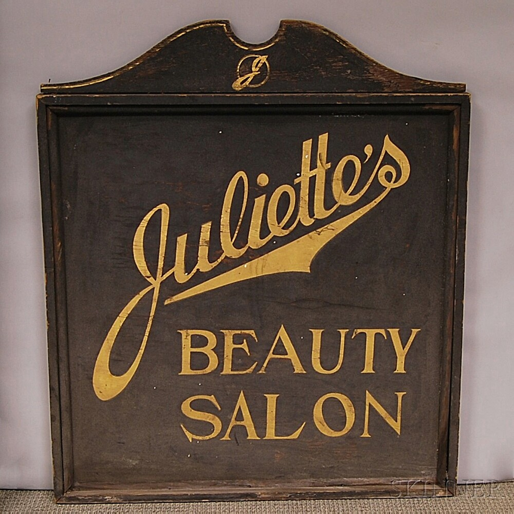 Black-painted and Parcel-gilt Trade Sign