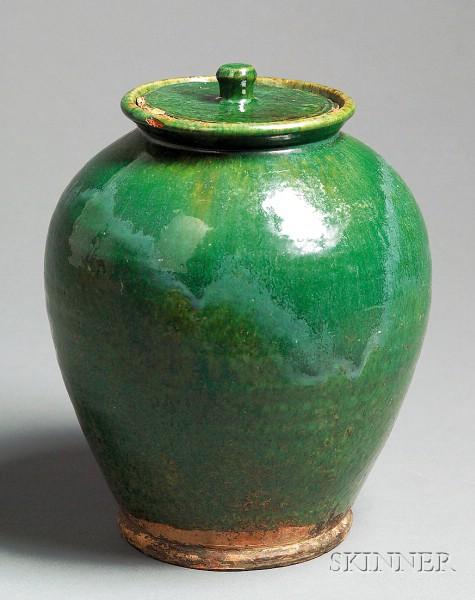 Green-glazed Covered Redware Jar