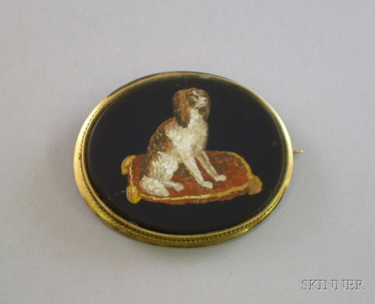 12kt Gold Framed Micro-Mosaic in Onyx Brooch