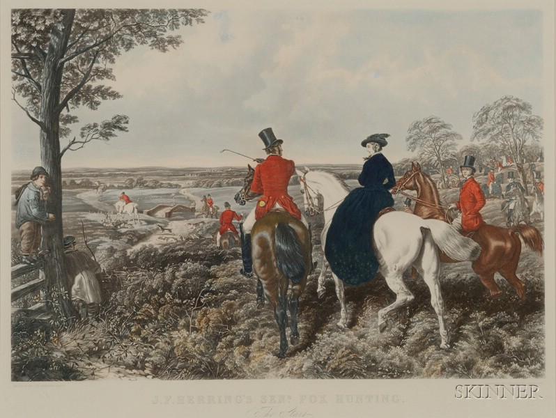 After John Frederick Herring, Sr. (British, 1795-1865)      Lot of Four Plates from J.F. Herring Senr. Fox Hunting.