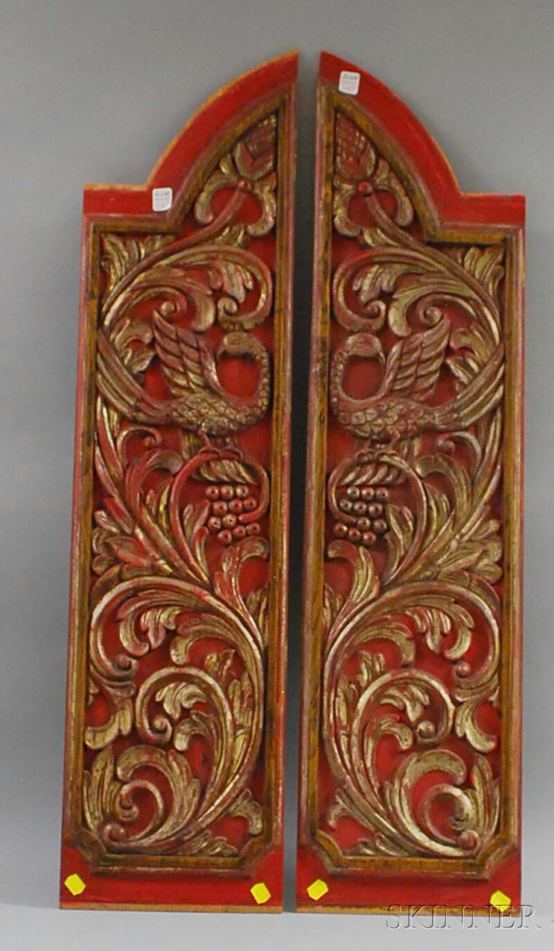 Pair of Asian Gilt and Red-painted Carved Wood Cabinet Door Panels