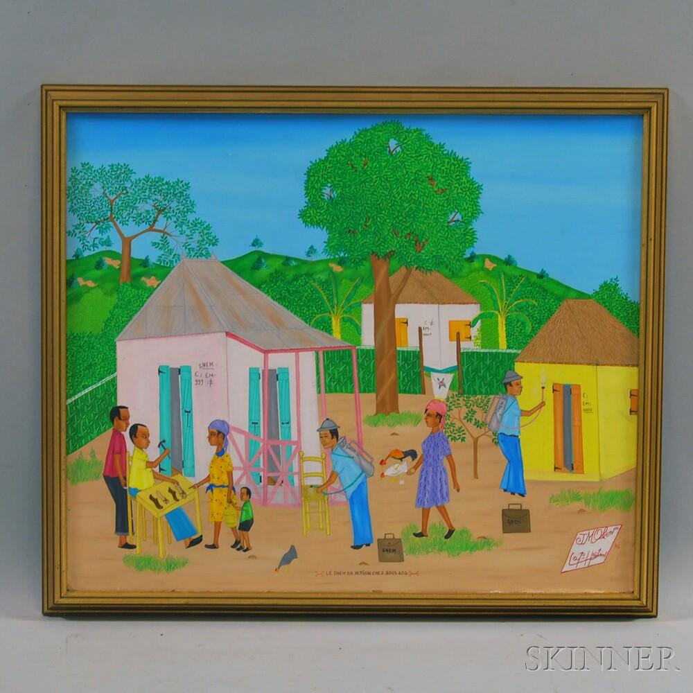 Jean-Marie Obin (Haitian, 20th Century)      Le Snem en Action Chez Boss Djo