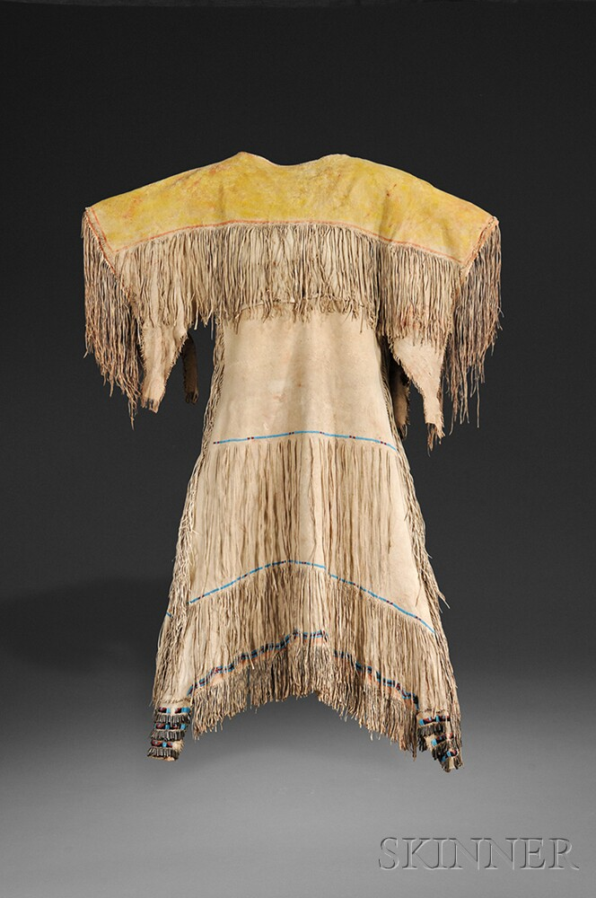 Southern Cheyenne Beaded and Fringed Hide Woman's Dress