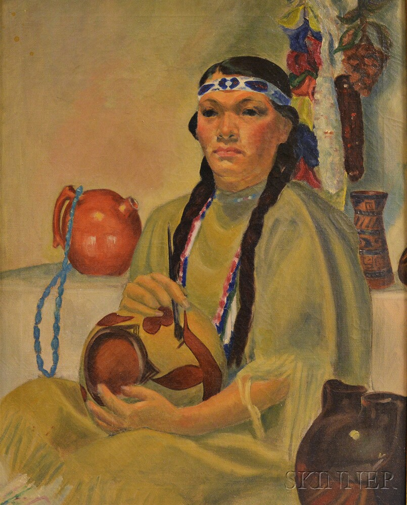 Gloria Mizen (American, 20th Century)      American Indian, Southwest, Painting a Pot