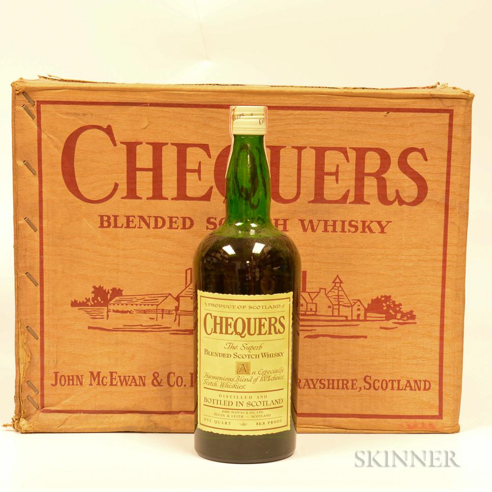 Chequers Blended Scotch Whisky, 12 quart bottles (oc)