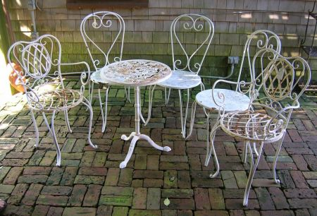 Group of Assorted Painted Cast Iron and Metal Patio and Garden Furniture