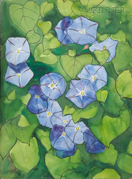 Jane Peterson (American, 1876-1965)      Lot of Two Floral Studies: Blue Morning Glories and Petunias
