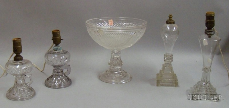 Four Colorless Pressed and Blown Glass Table Lamps and a Colorless Sawtooth Pressed   Glass Compote