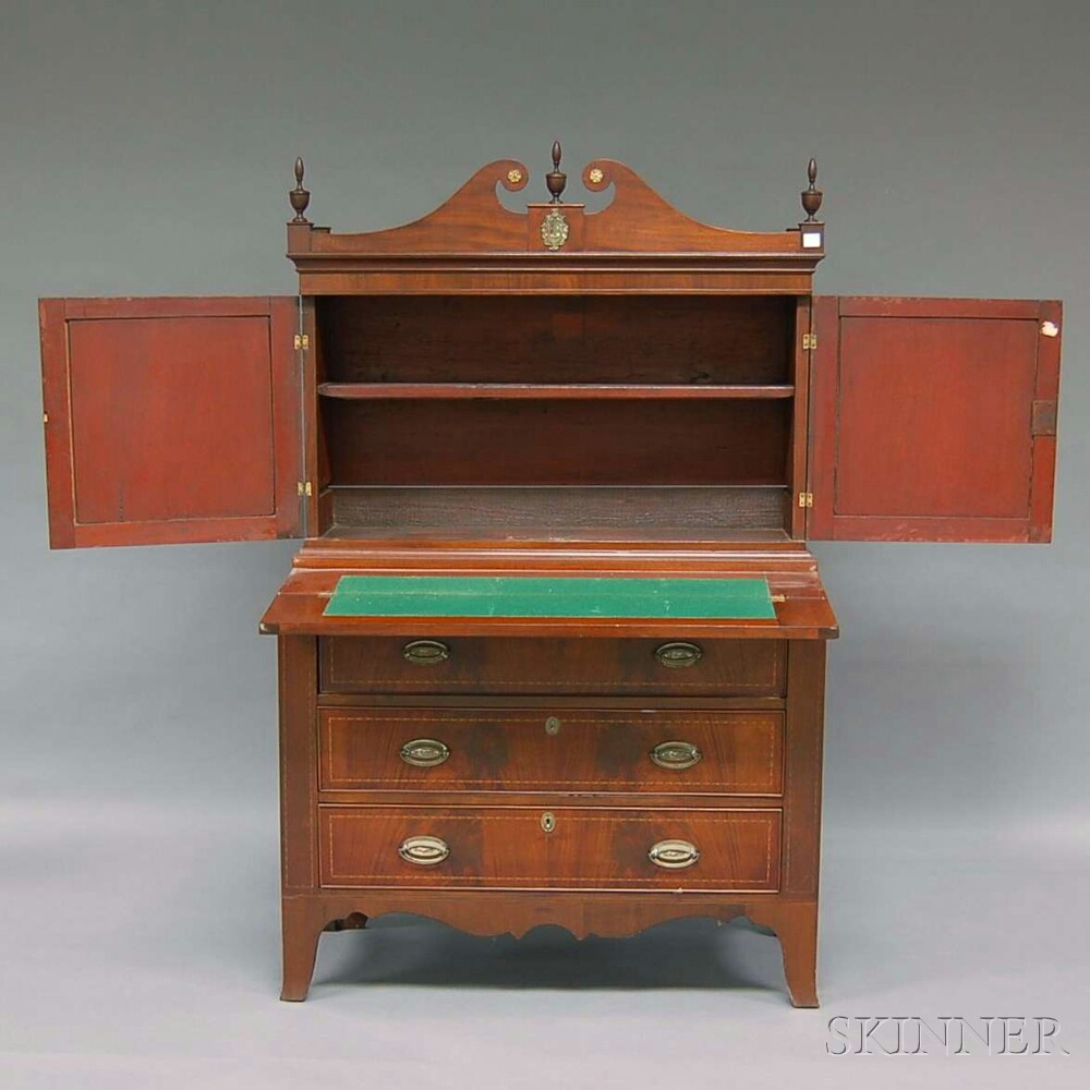 Federal-style Inlaid Mahogany Writing Desk/Bookcase