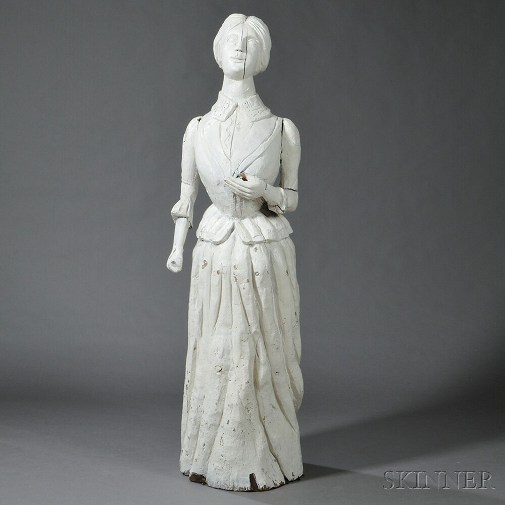 Carved White-painted Life-size Figure of a Lady