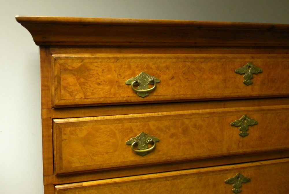 Queen Anne-style Maple and Burl Veneer High Chest