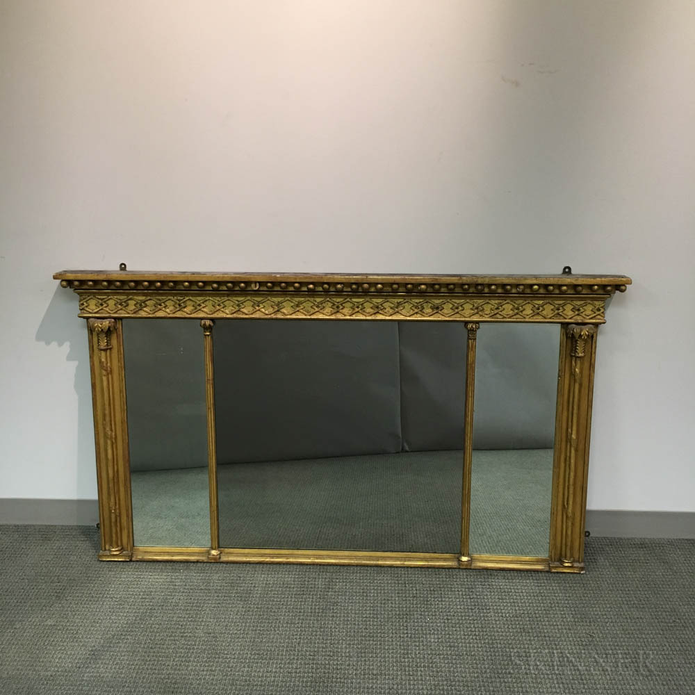 Federal Carved and Gilt Tripartite Overmantel Mirror