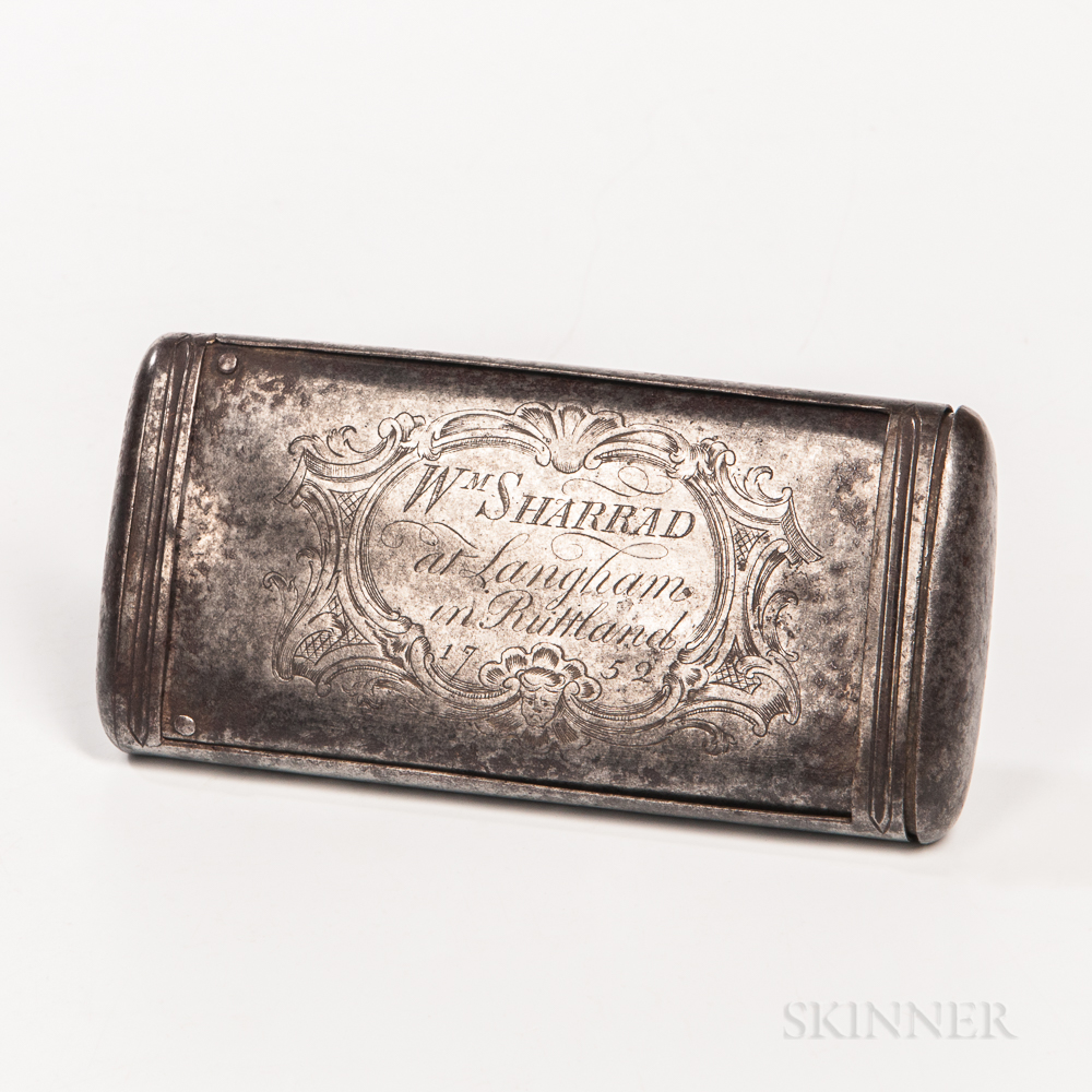 Engraved Steel Draw Box or Boot Powderer
