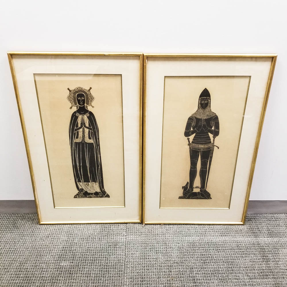 Pair of Framed Brass Rubbings of a Knight and Lady