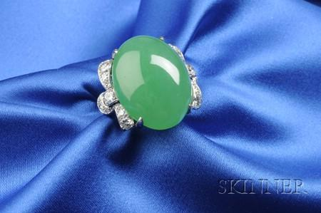 Platinum, Jadeite, and Diamond Ring